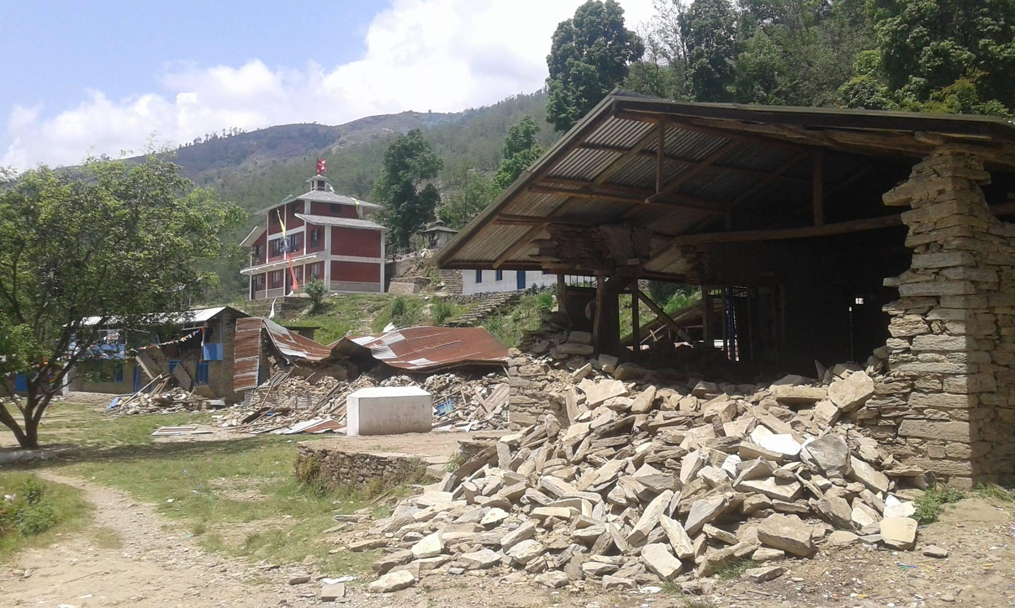 Prima foto dell'area dopo il sisma del 25 aprile scorso